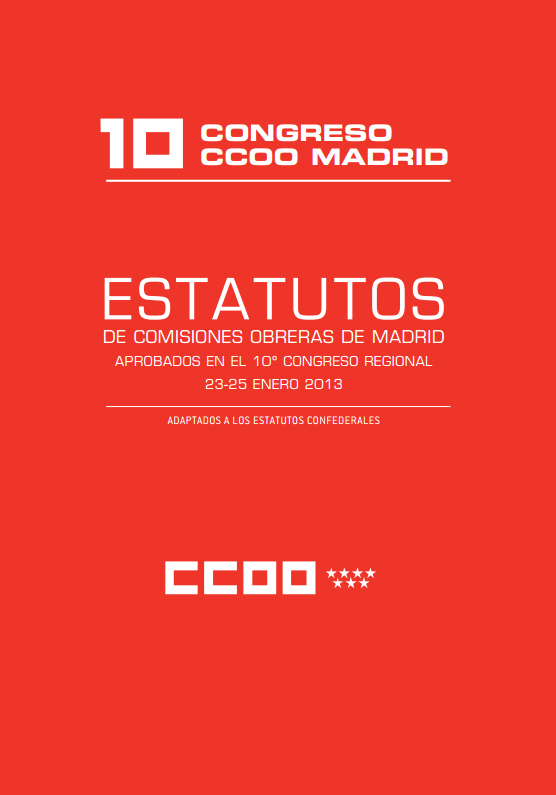 Estatutos de CCOO Madrid 10º Congreso