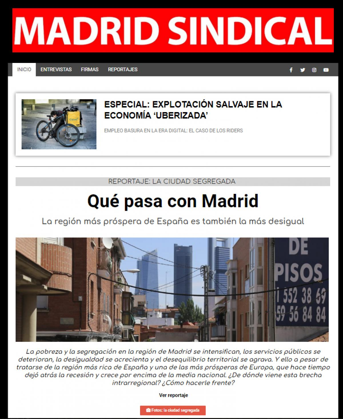 Portada de Madrid Sindical web