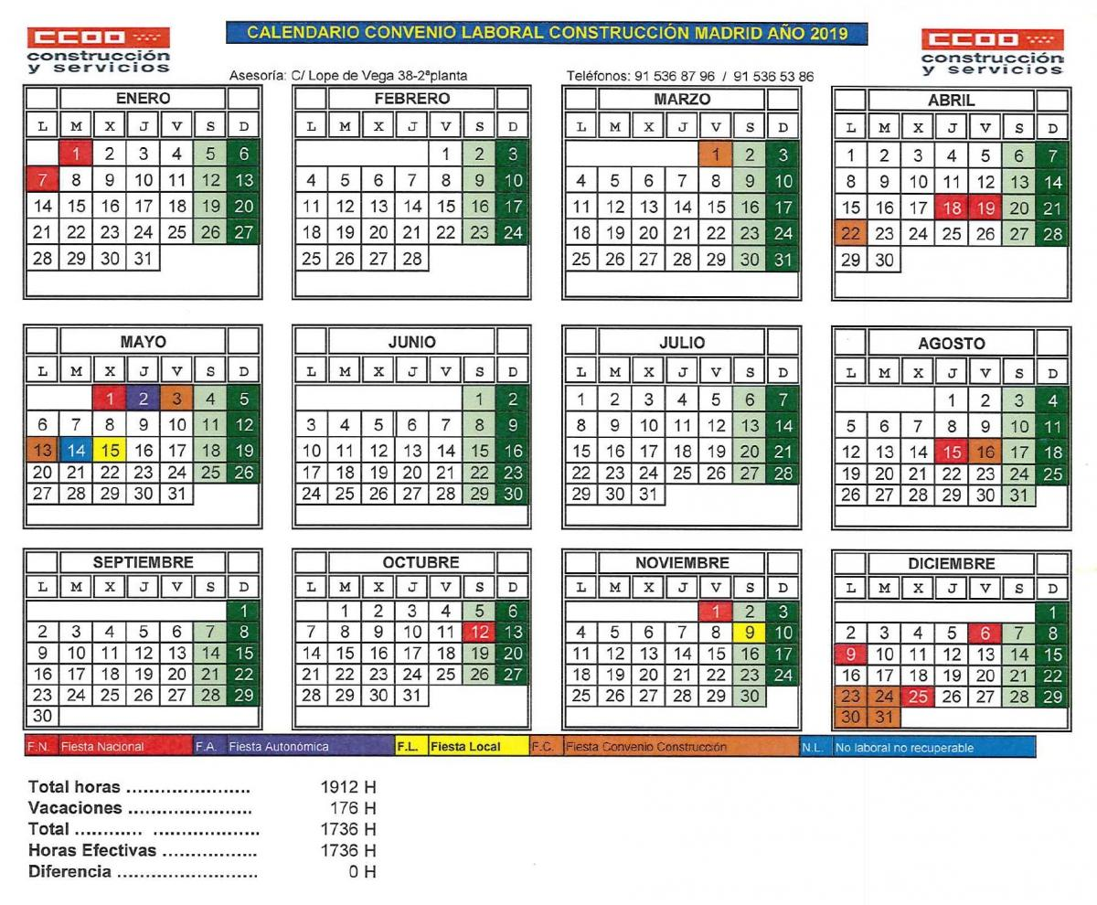 Calendario Laboral Construccion 2020.Comisiones Obreras De Madrid