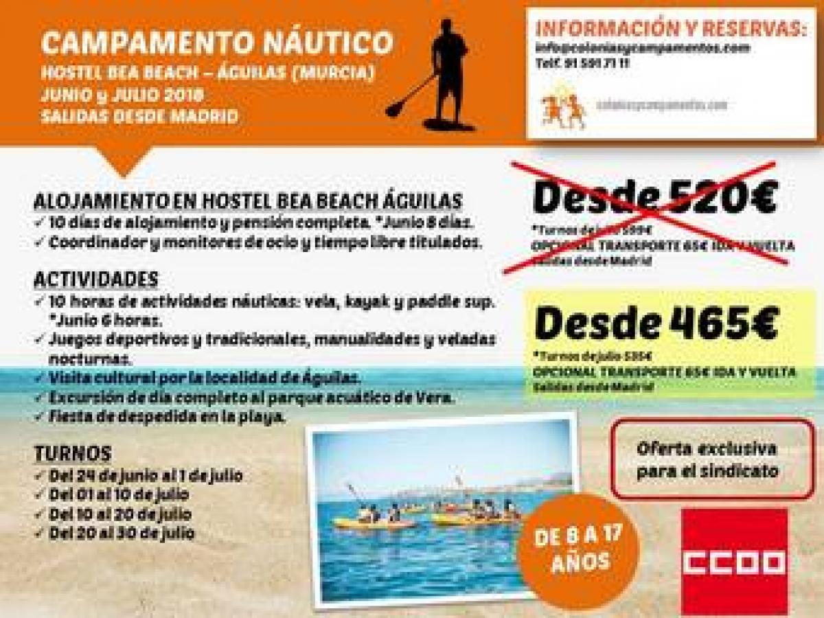Campamentos náuticos Águilas 2018 con VEN-T INTERNATIONAL TRAVEL