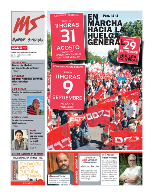Madrid Sindical nº 149, Agosto-Septiembre 2010
